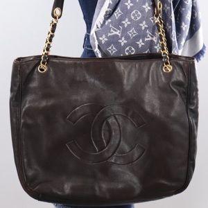 💎✨Authentic✨💎CHANEL Brown Lamb Skin Tote Bag